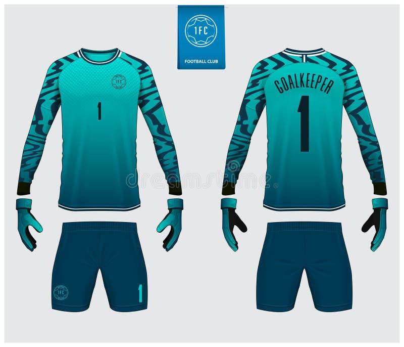 守门员球衣或足球成套工具大模型 守门员手套和长袖球衣模板设计 r ?? 向量例证