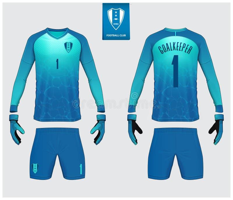 守门员球衣或足球成套工具大模型 守门员手套和长袖球衣模板设计 r ?? 库存例证