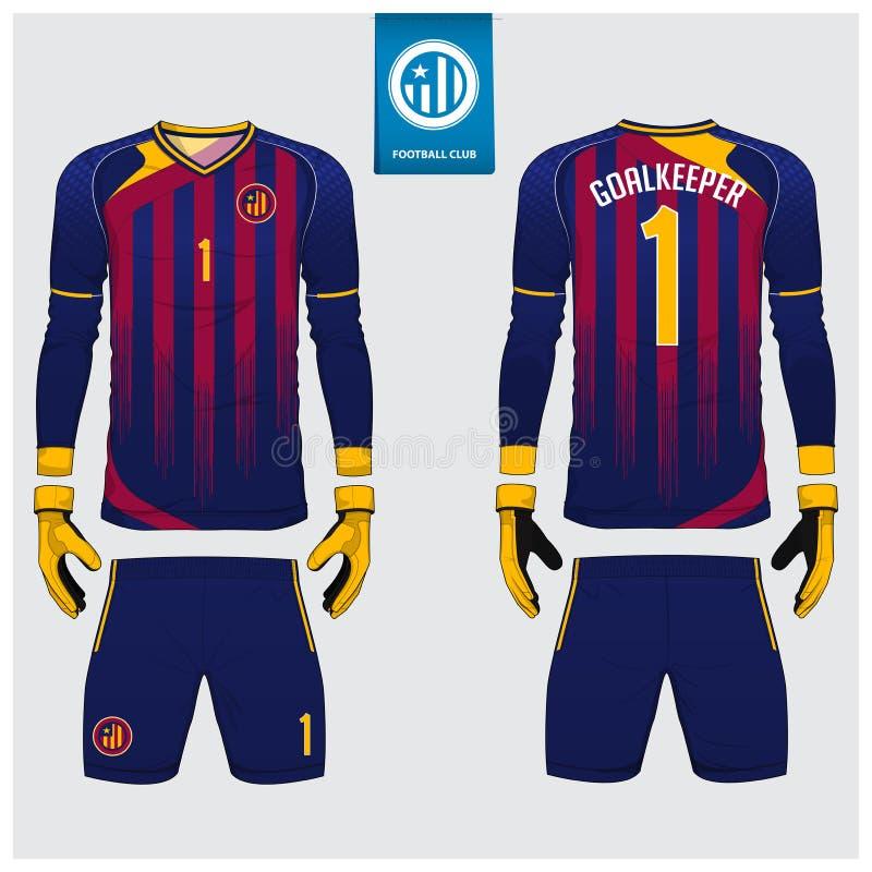 守门员球衣或足球成套工具,长的袖子球衣,守门员手套模板设计 运动衫嘲笑 前面和后面制服 库存例证