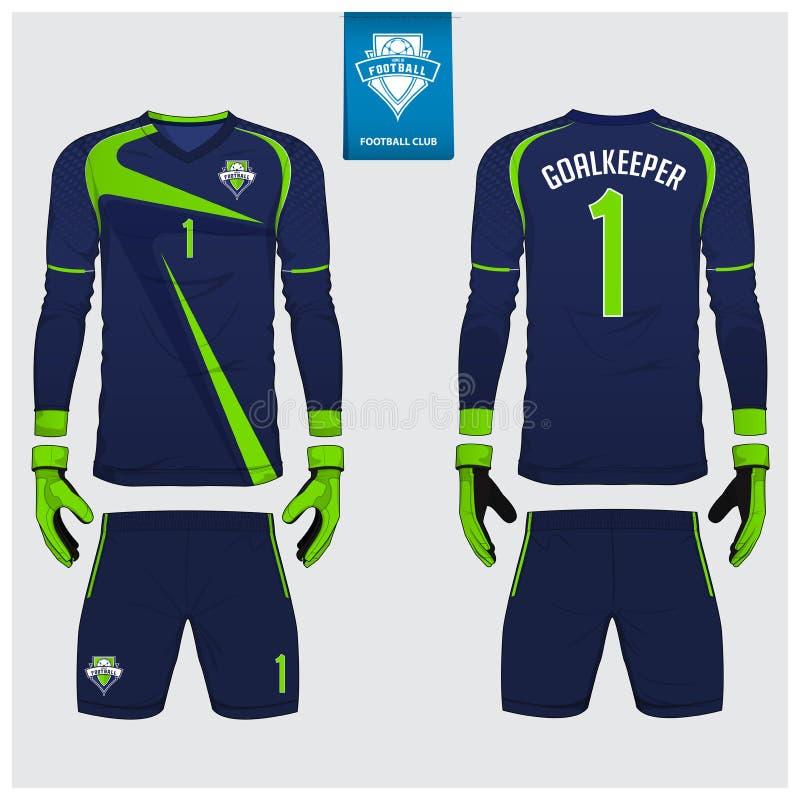 守门员球衣或足球成套工具,长的袖子球衣,守门员手套模板设计 T恤杉嘲笑 前面,后面看法制服 向量例证