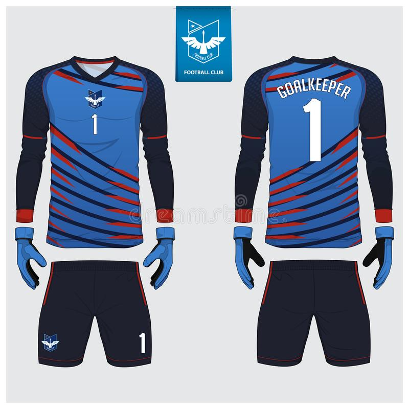 守门员球衣或足球成套工具,长的袖子球衣,守门员手套模板设计 T恤杉嘲笑 前面,后面看法制服 皇族释放例证