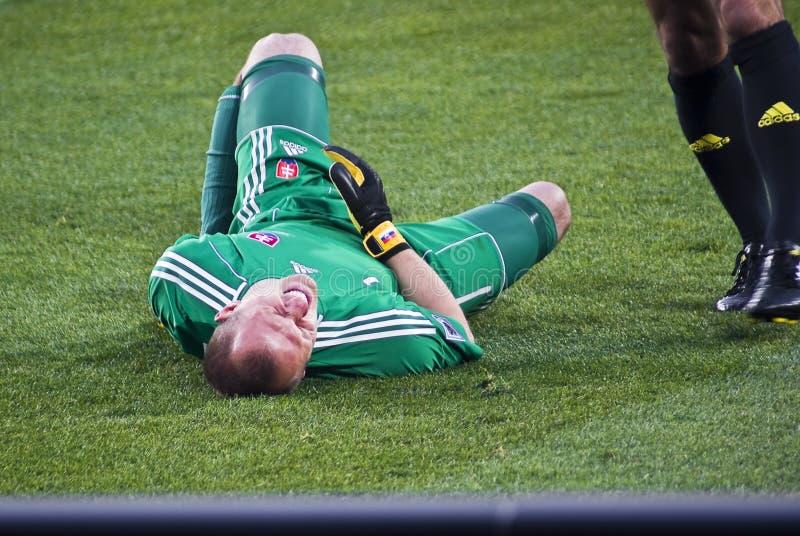 守门员被伤害的斯洛伐克 免版税库存照片