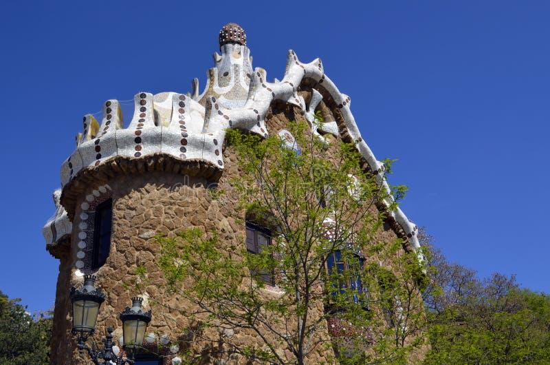 安东尼・高迪s公园Guell,巴塞罗那,西班牙看法  免版税库存图片