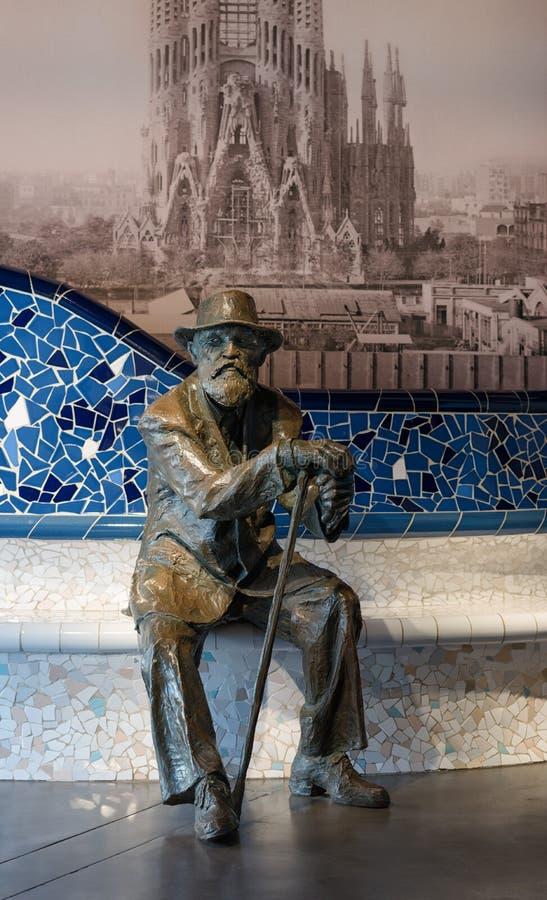 安东尼Gaudi雕象在巴塞罗那 免版税图库摄影