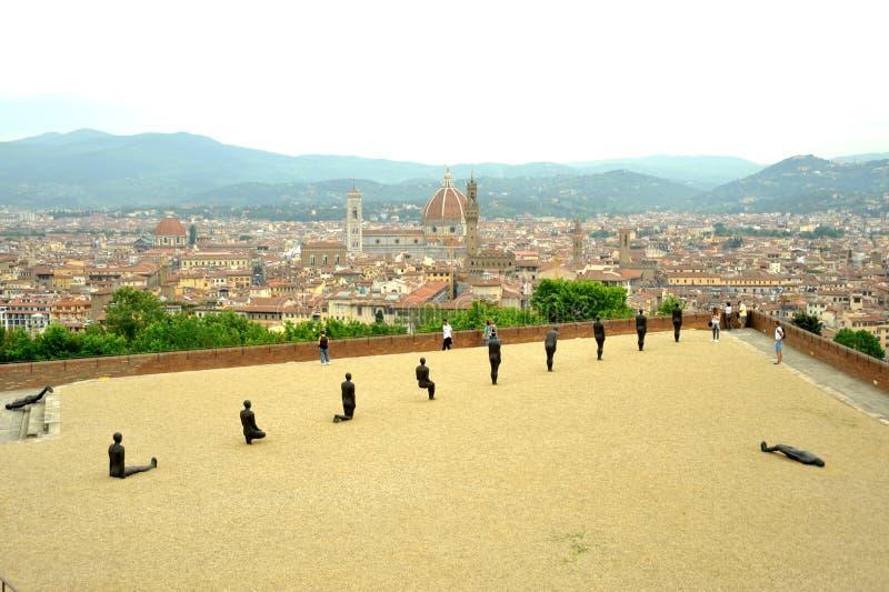 安东尼Gormley当代艺术陈列在佛罗伦萨,意大利 库存图片