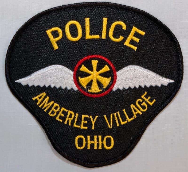 安伯利村庄警察局的肩章在俄亥俄 免版税图库摄影