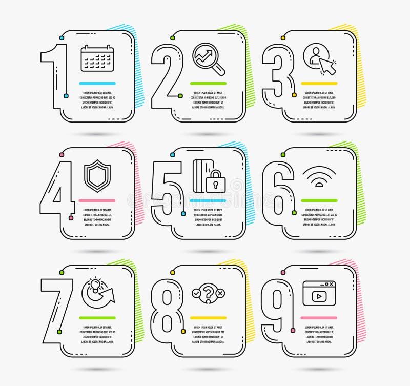 安全、用户和测验测试象 Wifi、逻辑分析方法和日历标志 向量 库存例证