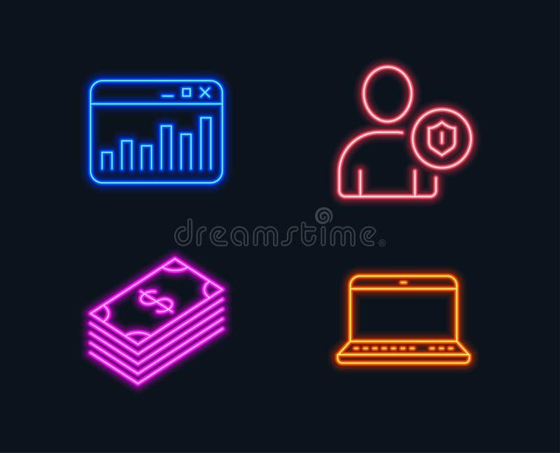安全、销售的统计和美元象 笔记本标志 人保护,网逻辑分析方法, Usd货币 皇族释放例证