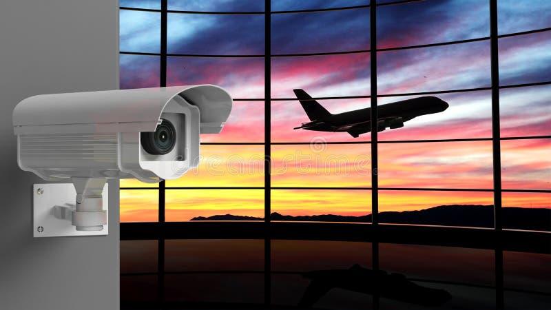 安全与机场的监视器 皇族释放例证