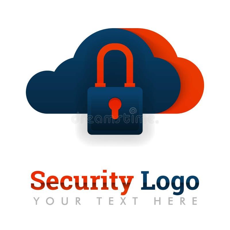 安全云彩存贮的,安全存贮,数据库保护,主持,互联网产业,技术,数据securi商标模板 向量例证