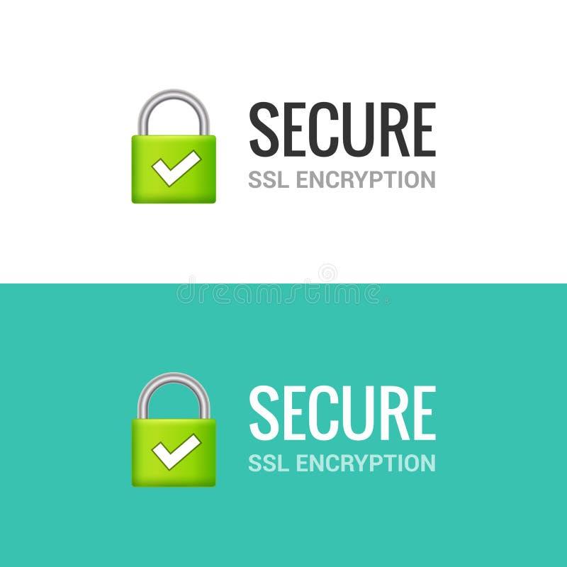 安全互联网连接SSL象 对互联网例证设计的被隔绝的获取的锁通入 SSL安全卫兵 向量例证