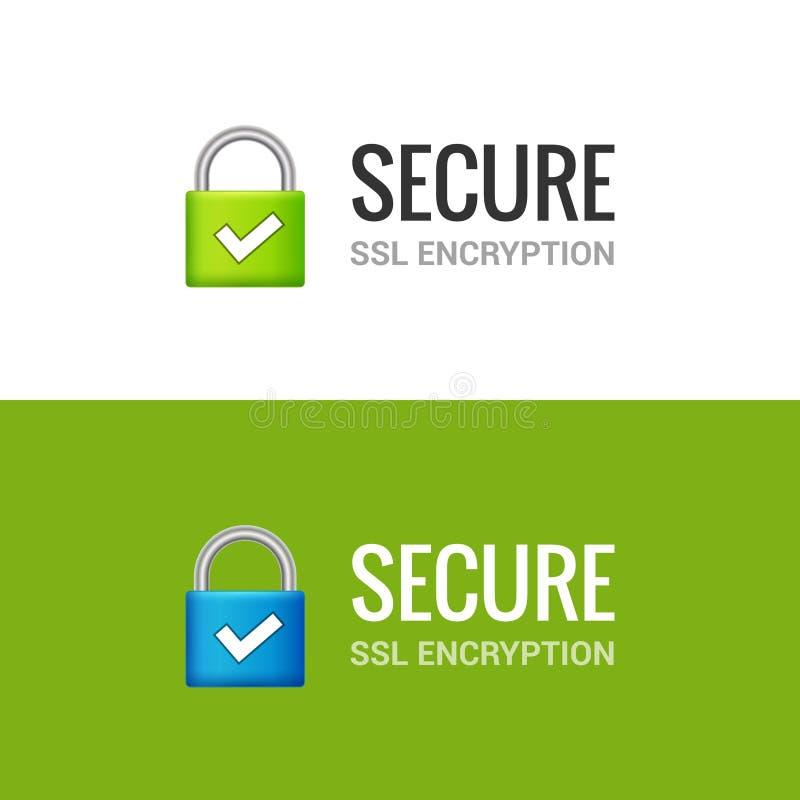 安全互联网连接SSL象 对互联网例证设计的被隔绝的获取的锁通入 SSL安全卫兵 库存例证