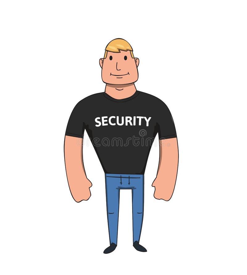安全人漫画人物 平的传染媒介例证 背景查出的白色 库存例证