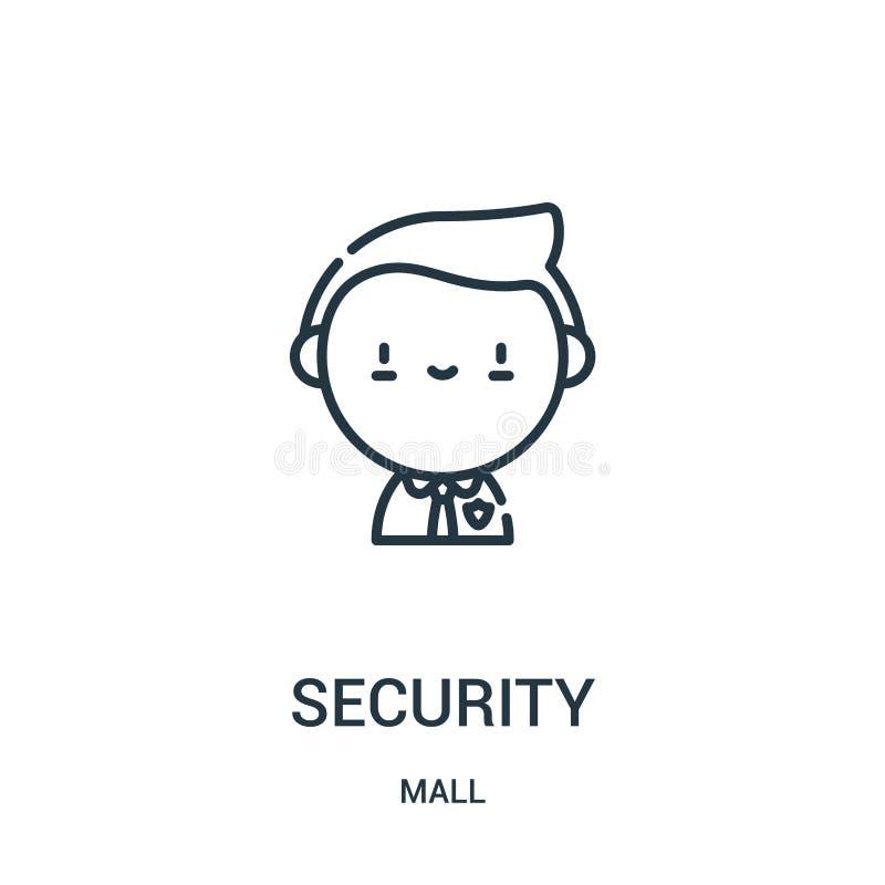 安全从购物中心汇集的象传染媒介 稀薄的线安全概述象传染媒介例证 线性标志为在网的使用和 向量例证