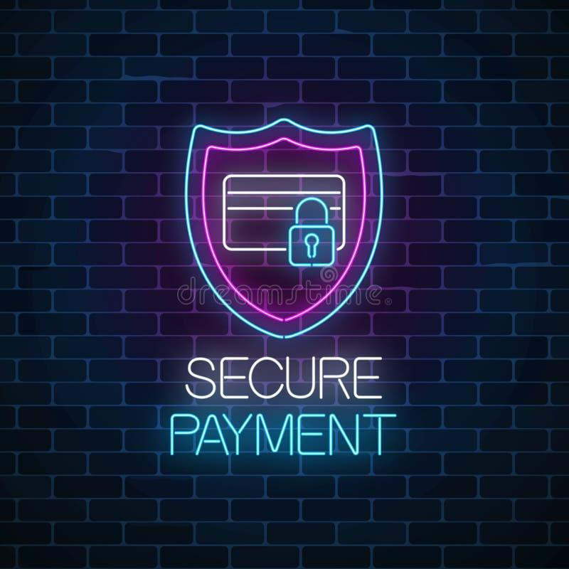安全付款发光的霓虹灯广告 付款与盾和信用卡的保护标志与锁 向量例证