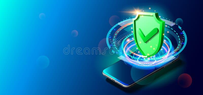 安全保密性数据在互联网 在五颜六色的背景的手机 库存例证