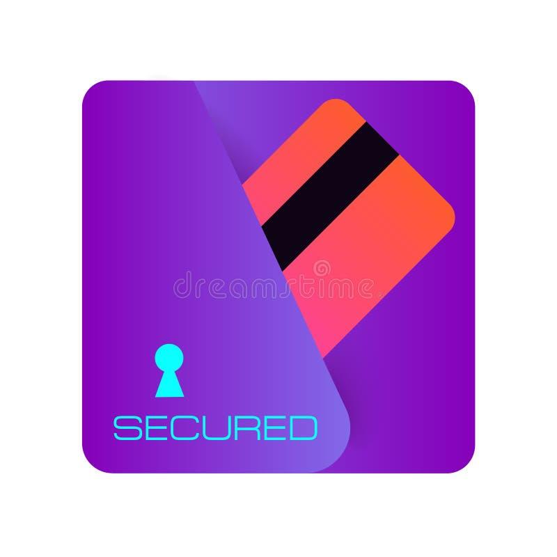 安全信用卡片简单的被隔绝的传染媒介象 薪水锁 安全银行的象 Ð ¡ redit卡片传染媒介象 银行信用卡概念赊帐地球互联网映射付款世界 库存例证