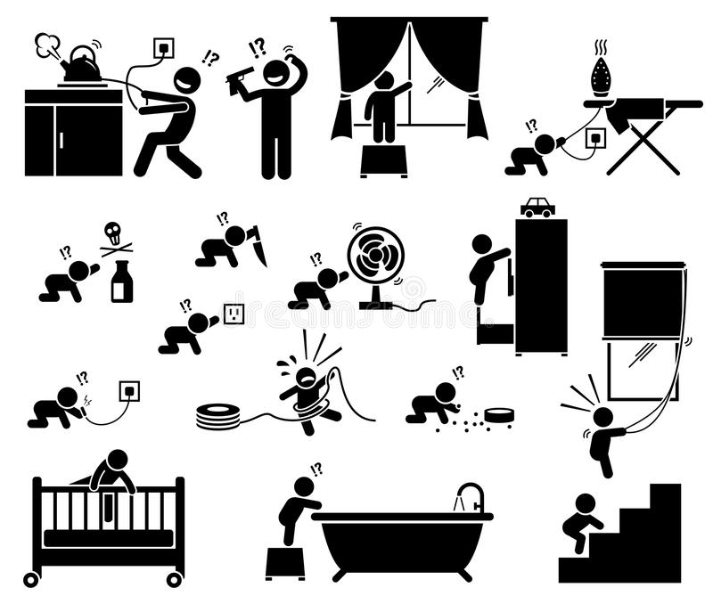 安全危险在家孩子的 向量例证