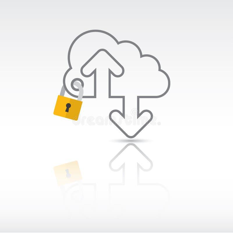 安全和云彩技术 库存例证