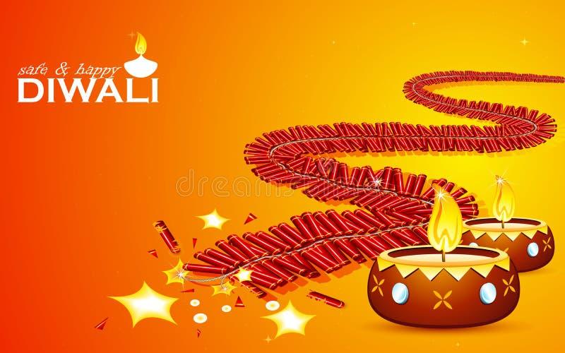 安全和愉快的Diwali 库存例证