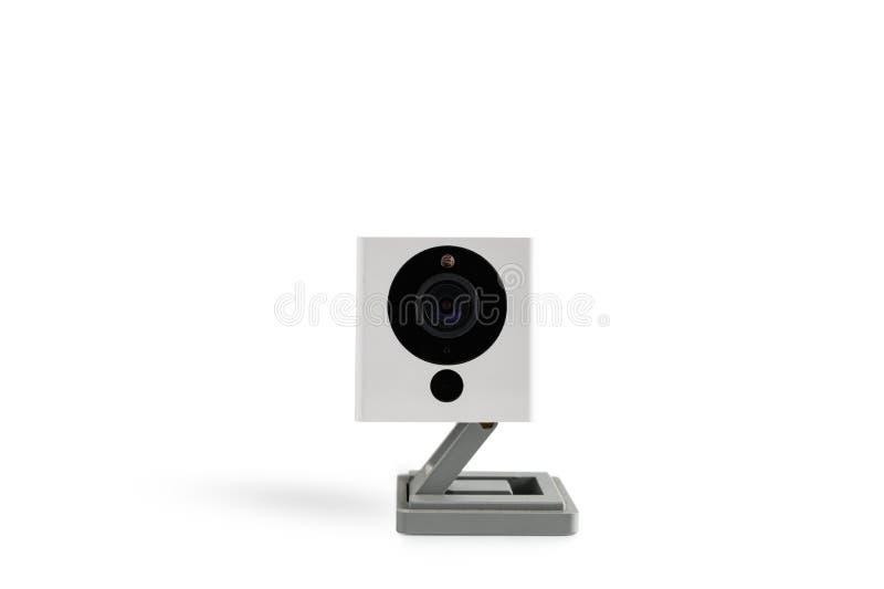 安全孤立CCTV照相机在白色背景的与裁减路线 图库摄影