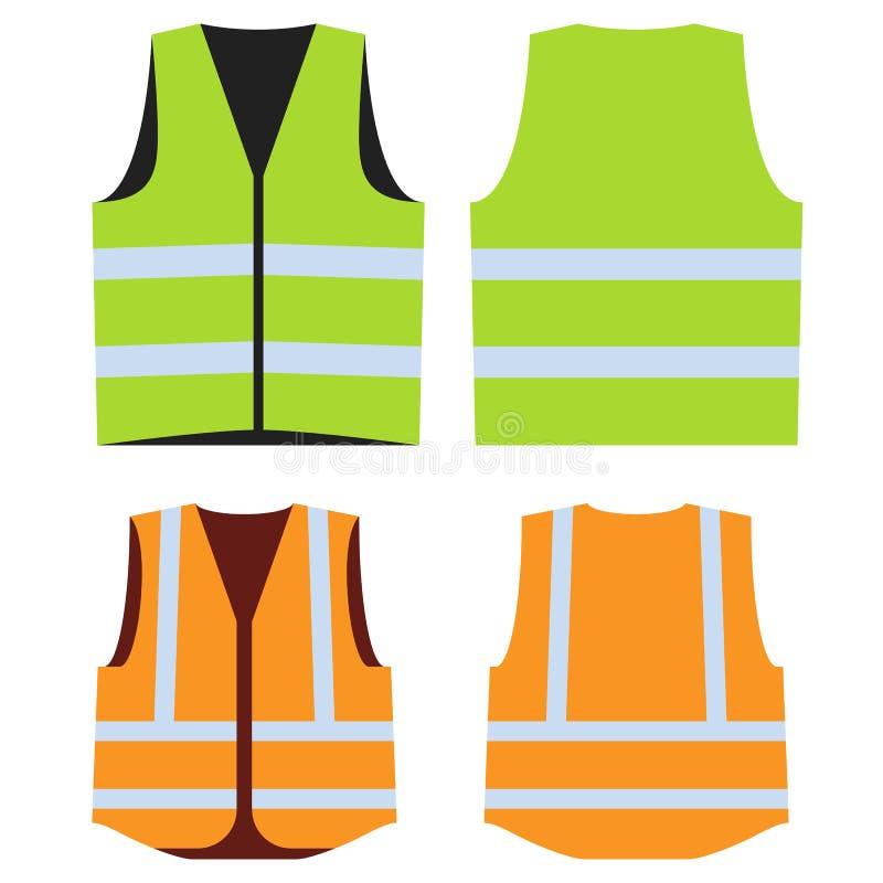 安全工作的路背心 前面和后部 库存例证