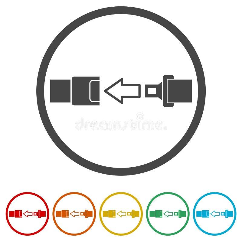 安全带或安全带象,包括的6种颜色 向量例证
