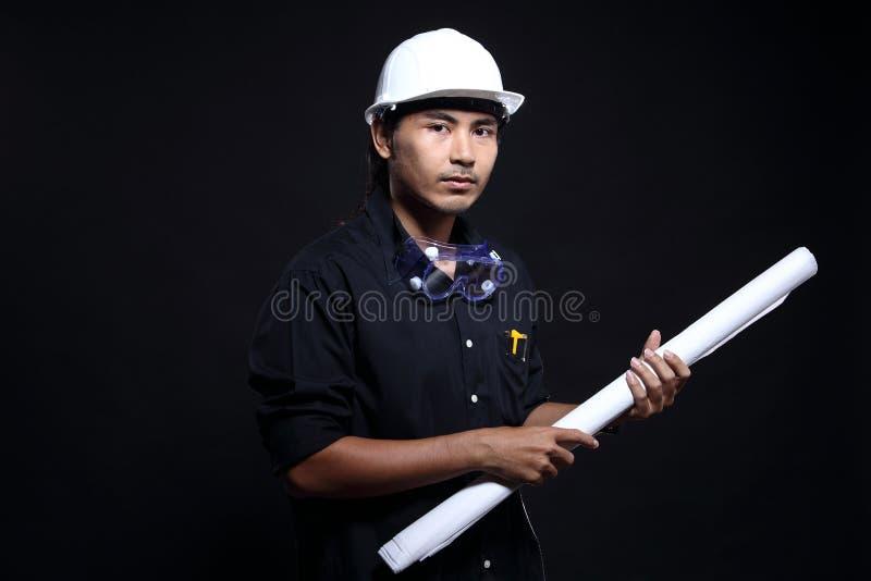 安全帽和安全设备的建筑师工程师 免版税库存照片