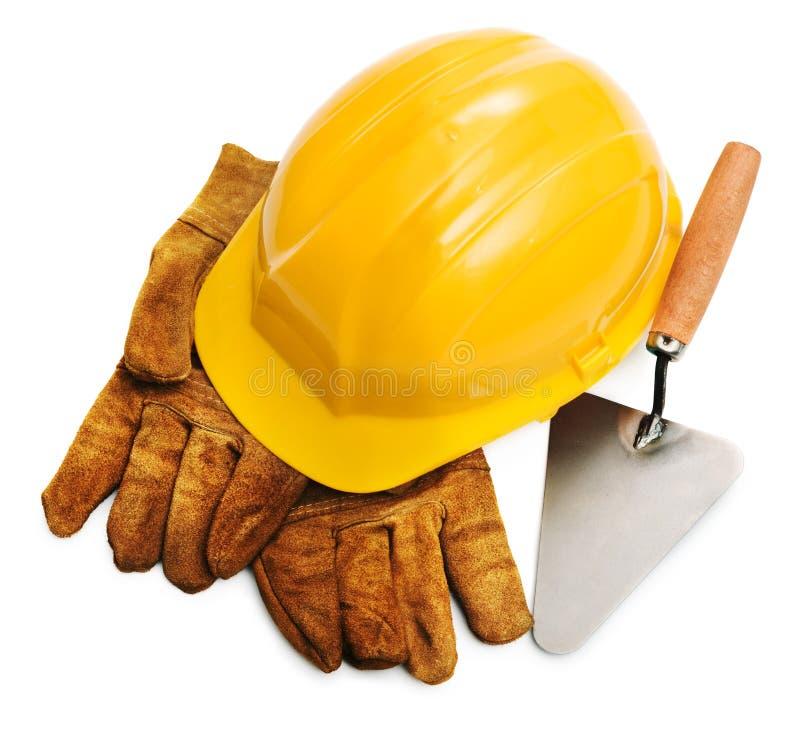 安全帽用工具加工黄色 库存照片
