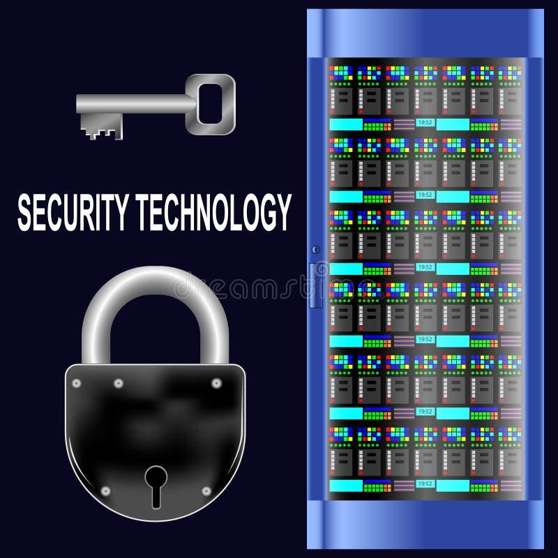 安全技术 服务器,锁,在黑背景的钥匙 库存例证