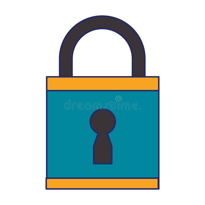 安全挂锁关闭了被隔绝的蓝线 向量例证