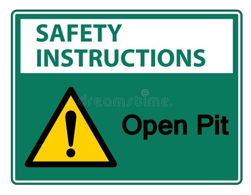 安全指令露天开采矿标志在白色背景,传染媒介例证的标志孤立 向量例证