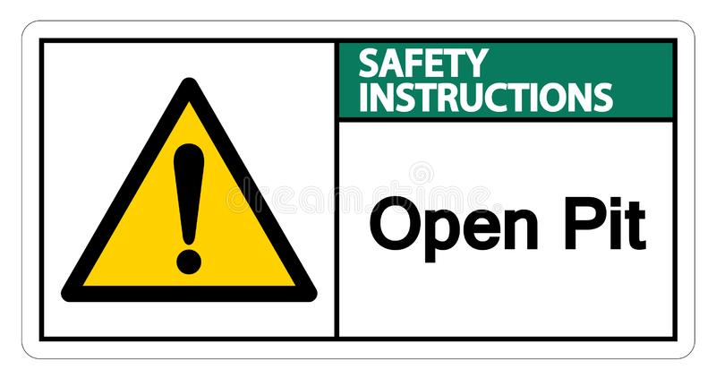 安全指令露天开采矿标志在白色背景,传染媒介例证的标志孤立 库存例证