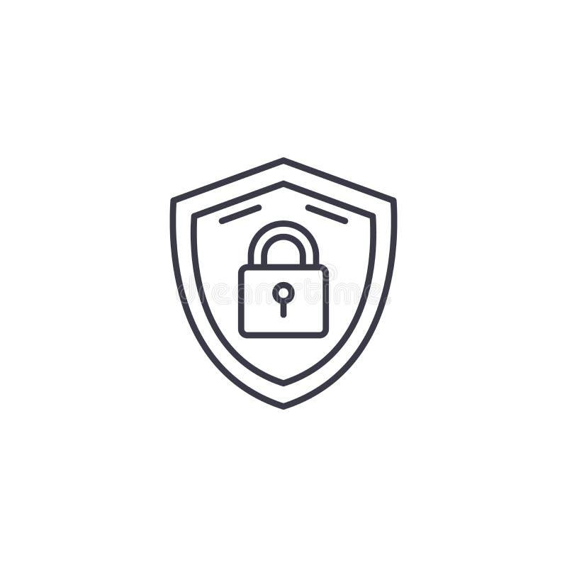 安全措施线性象概念 安全措施排行传染媒介标志,标志,例证 向量例证