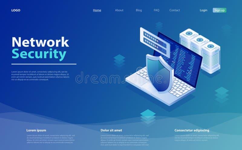 安全数据保护概念 安全和机密数据保护 网络数据安全等距矢量图示 向量例证