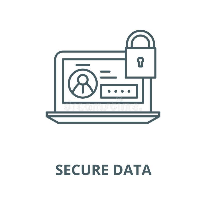 安全数据向量线象,线性概念,概述标志,标志 向量例证
