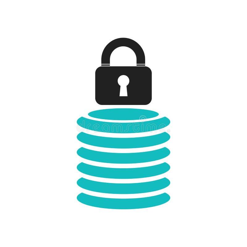 安全数据库象在白色背景隔绝的传染媒介标志和标志,安全数据库商标概念 库存例证