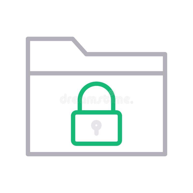 安全文件夹稀薄的颜色lline传染媒介象 向量例证