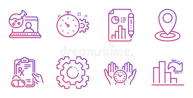 安全时期、Seo齿轮和处方药象集合 网上化学、钝齿轮定时器和地点标志 ?? 向量例证