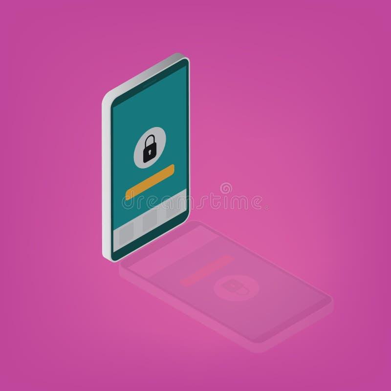安全智能手机,手机挂锁象传染媒介eps10 有反射的等量在桃红色背景的智能手机和锁 库存例证