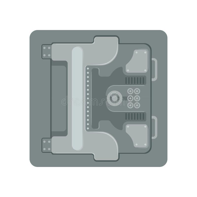 安全有一个机械号码锁的金属装甲的箱子,安全企业箱子现金安全保护概念传染媒介 库存例证