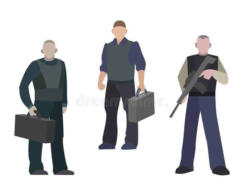 安全有武器的监护人站立户内传染媒介例证的人和案件 银行保镖一致的保护 库存例证