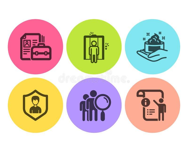 安全机关,电梯和皮肤护理象集合 查寻人,空位和指南doc标志 ?? 向量例证
