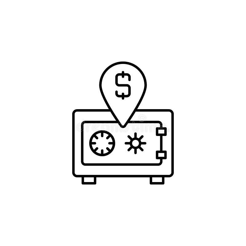 安全框,白色背景中的钱行图标 向量例证