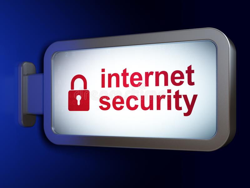 安全概念:互联网安全和被关闭的挂锁在广告牌背景 皇族释放例证