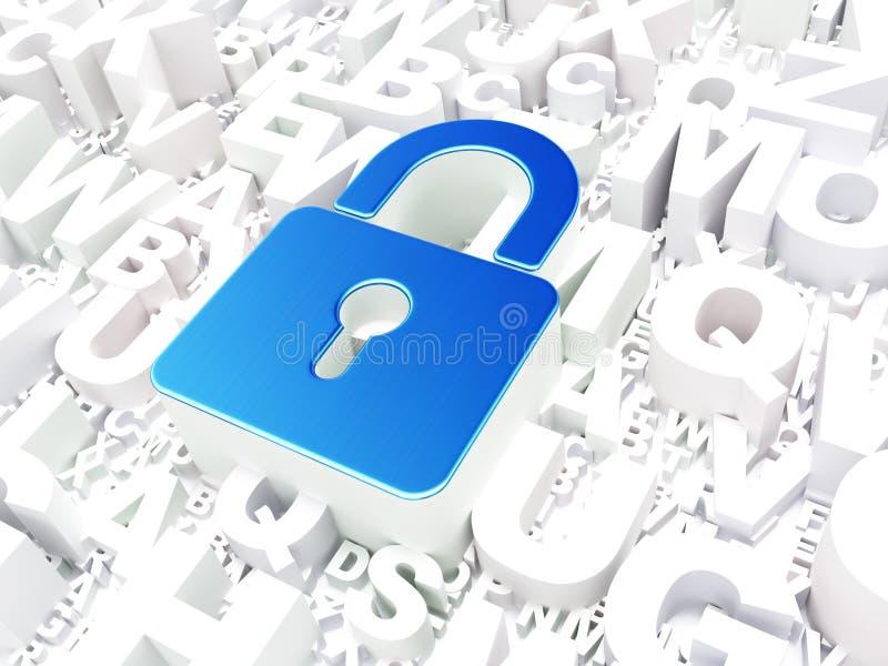 安全概念:在字母表的闭合的挂锁 皇族释放例证