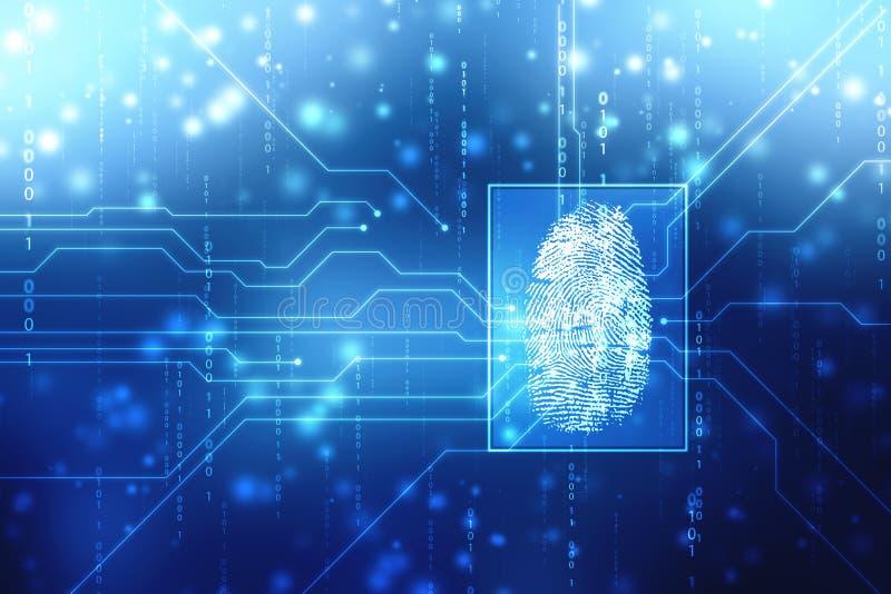 安全概念:在数字屏幕上的指纹扫描 E 皇族释放例证