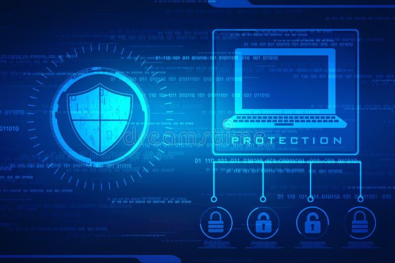 安全概念:在数字式屏幕,网络安全概念背景上的盾 免版税库存照片