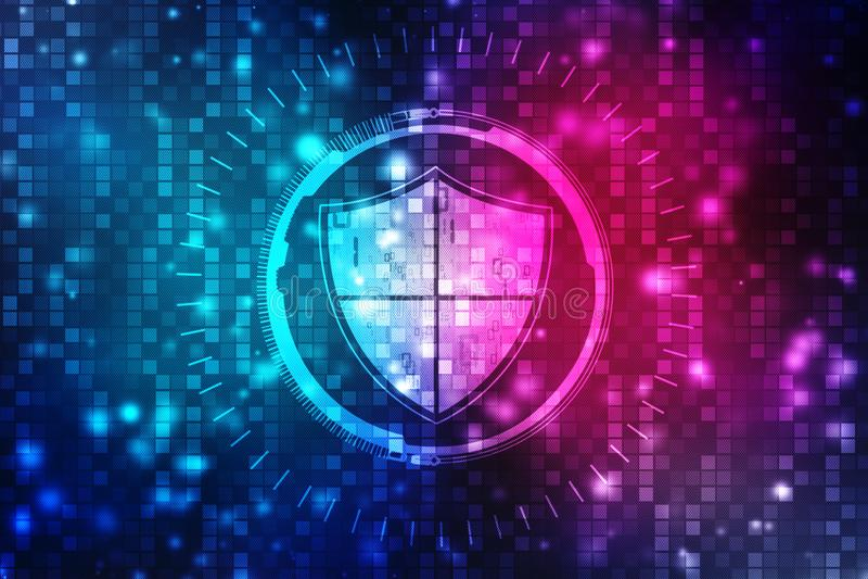 安全概念:在数字式屏幕,网络安全概念背景上的盾 库存例证