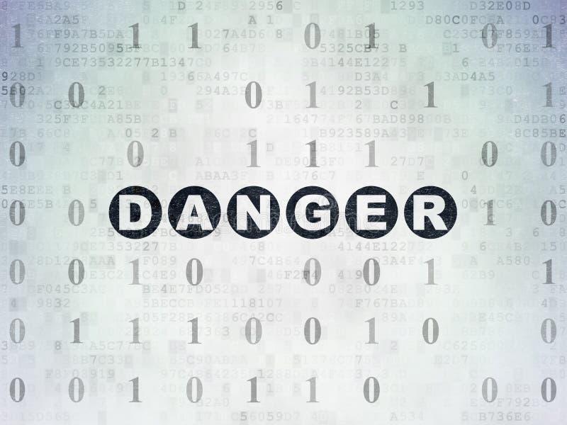 安全概念:在数字资料纸背景的危险 向量例证